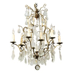 French Nine-Light Crystal Chandelier with Brass Armature and Finial, circa 1890