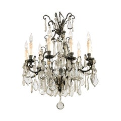 French Nine-Light Crystal Chandelier with Iron Scrolling Armature, circa 1890