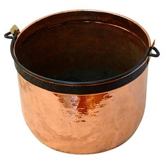French Copper Cauldron with Iron Swing Handle and Makers Name