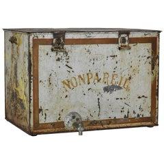 French Non Pareil Metal Ice Box, 20th Century