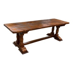 French Normandy Solid Oak Baluster Trestle or Farm Table or Monastery Table