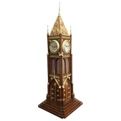 French Novelty Four Dial Tower Clock by Blumberg, Paris 19th Century