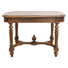 French Nutwood Writing Table Louis XVI Style, Late 19th Century