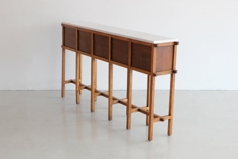 Mid-20th Century French Oak and Carrara Marble Console For Sale