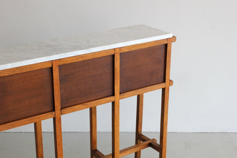 French Oak and Carrara Marble Console For Sale 3