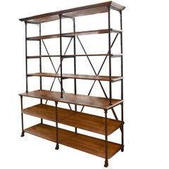French Oak and Iron Display Shelf by Au Petit Parisien