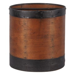 French Oak and Metal Grain Measure, Early 1900s
