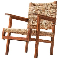 French Oak and Rope Armchair, 1940s