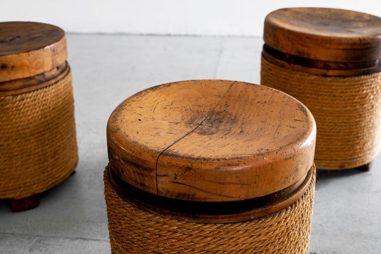 French Oak and Rope Stool In Good Condition For Sale In Los Angeles, CA