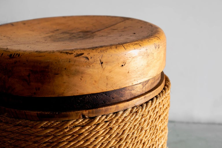 Mid-20th Century French Oak and Rope Stool For Sale