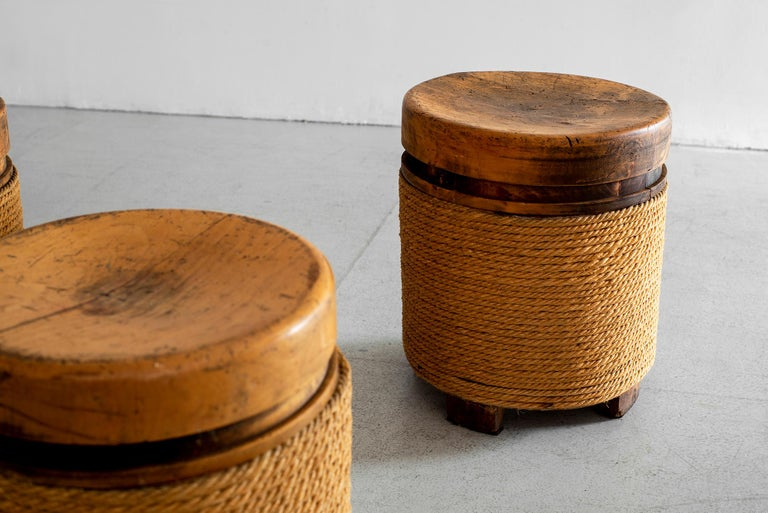French Oak and Rope Stool For Sale 1