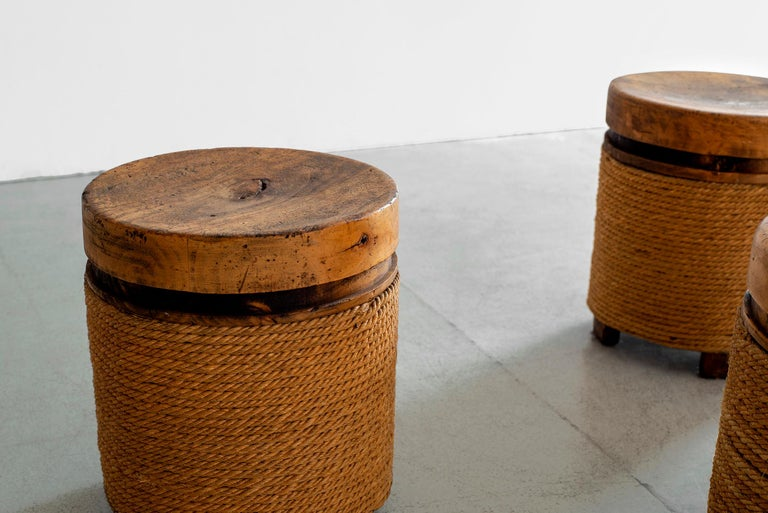 French Oak and Rope Stool For Sale 4