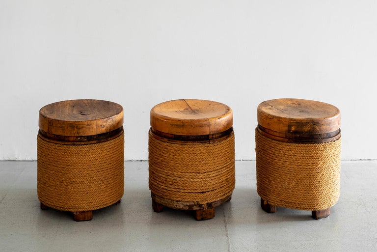 French Oak and Rope Stool For Sale 5