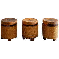 French Oak and Rope Stool