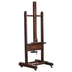 French Oak and Steel Mounted Easel, Turn of 20th Century