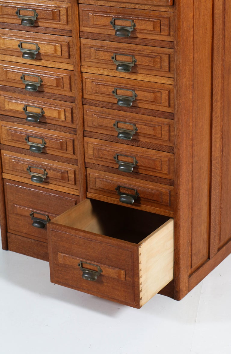 Early 20th Century French Oak Art Deco File Cabinet, 1920s For Sale