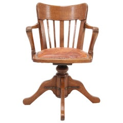 French Oak Art Nouveau Swivel Desk Chair, 1900s