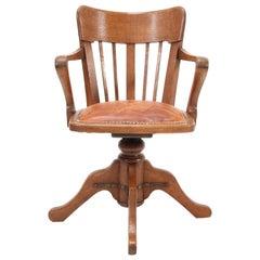 French Oak Art Nouveau Swivel Desk Chair, 1900s