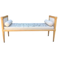 French Oak Bench with Painted Fine Bone Linen
