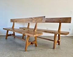 French Oak Benches w/ Backs