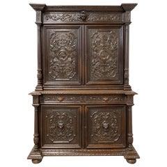 French Oak Cabinet Deux Corps Buffet Renaissance Revival, Mid 19th Century