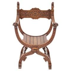 French Oak Carved Curule Chair Arm Throne Neo Renaissance Dagobert, 1920s