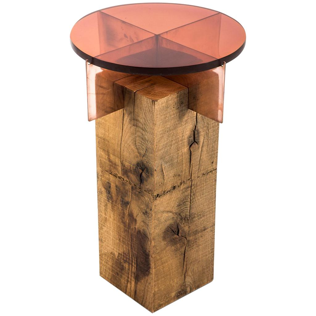 Egg designs furniture Interior French Oak Copper And Glass Jewel Totem Side Table By Egg Designs For Sale 1stdibs French Oak Copper And Glass Jewel Totem Side Table By Egg Designs