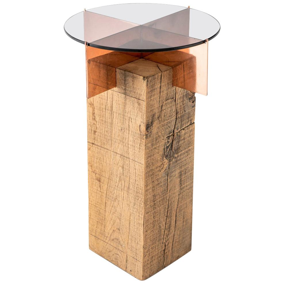 French Oak, Copper and Glass Jewel TOTEM Side Table by Egg Designs