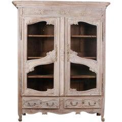 French Oak Display Cabinet / Cupboard