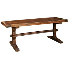 French Oak Farm Table with Trestle Base and Weathered Patina, circa 1880