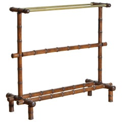 French Oak Faux Bamboo and Brass Towel Rack, Late 19th Century