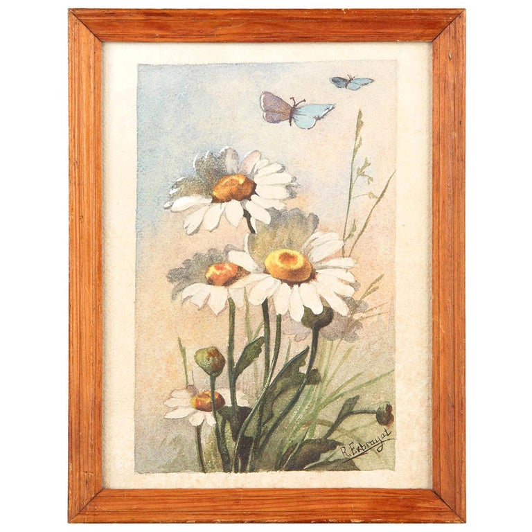 French Oak Frame with Watercolor of Daisies by R. Exbrayat, 20th Century For Sale