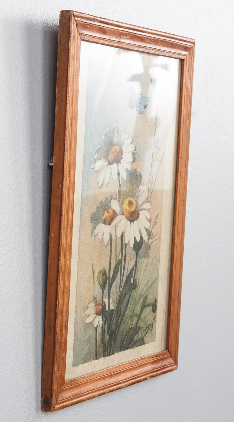 Hand-Painted French Oak Frame with Watercolor of Daisies by R. Exbrayat, 20th Century For Sale