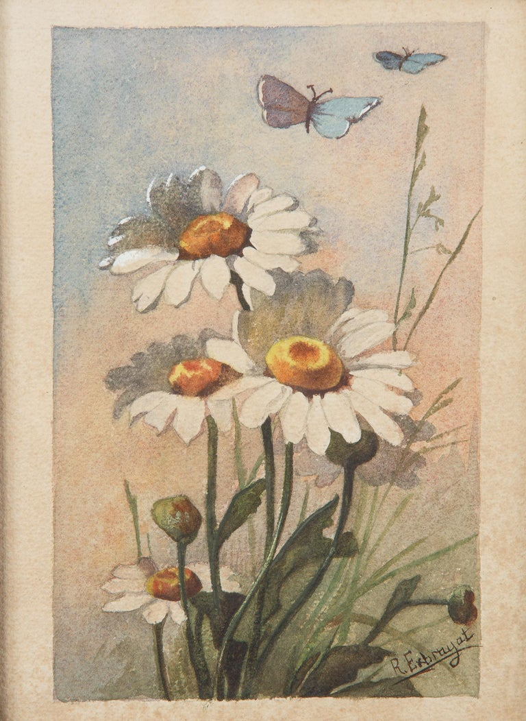 French Oak Frame with Watercolor of Daisies by R. Exbrayat, 20th Century In Good Condition For Sale In Austin, TX