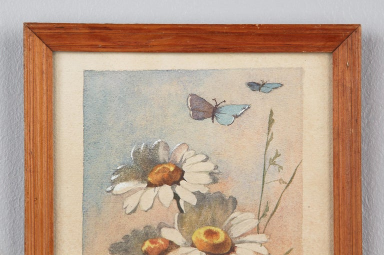 French Oak Frame with Watercolor of Daisies by R. Exbrayat, 20th Century For Sale 1