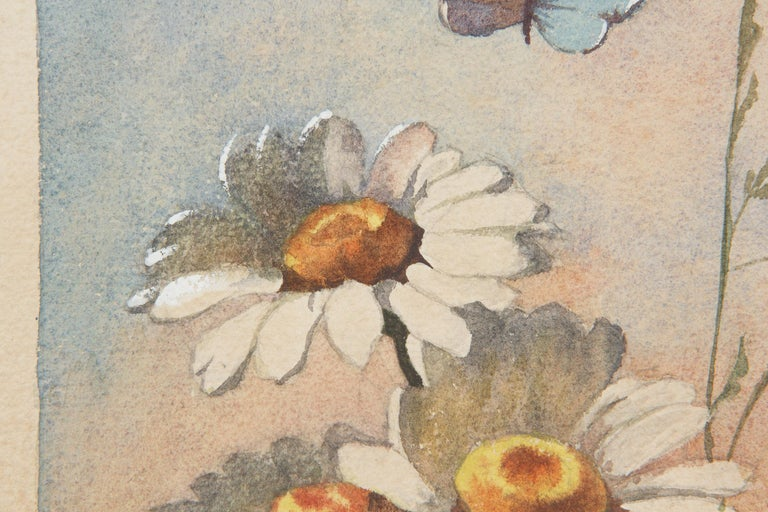 French Oak Frame with Watercolor of Daisies by R. Exbrayat, 20th Century For Sale 5