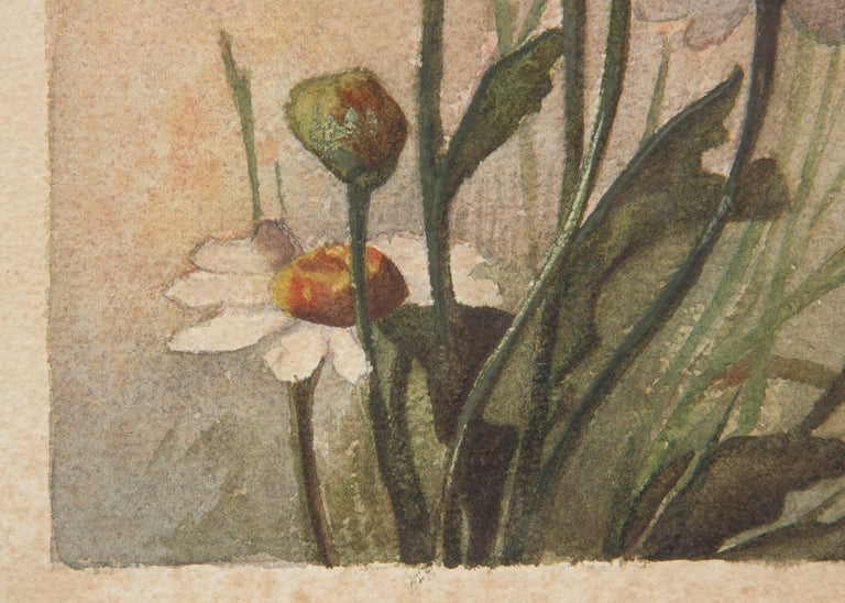 French Oak Frame with Watercolor of Daisies by R. Exbrayat, 20th Century For Sale 7