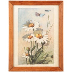French Oak Frame with Watercolor of Daisies by R.Exbrayat, 20th Century