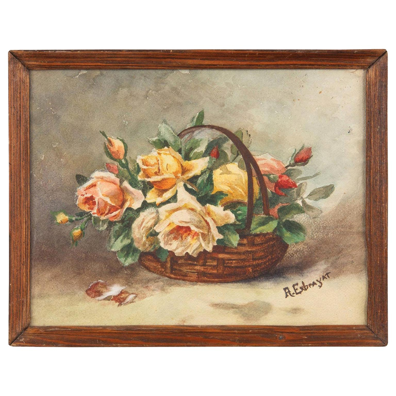 French Oak Frame with Watercolor of Flowers by Exbrayat, 20th Century