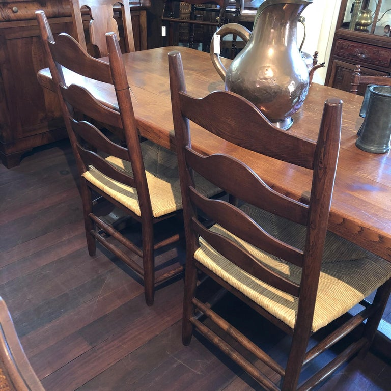 French Oak Grand Ladder Back, Rush Seating Dining Chairs, Pair In Excellent Condition For Sale In Perth , AU