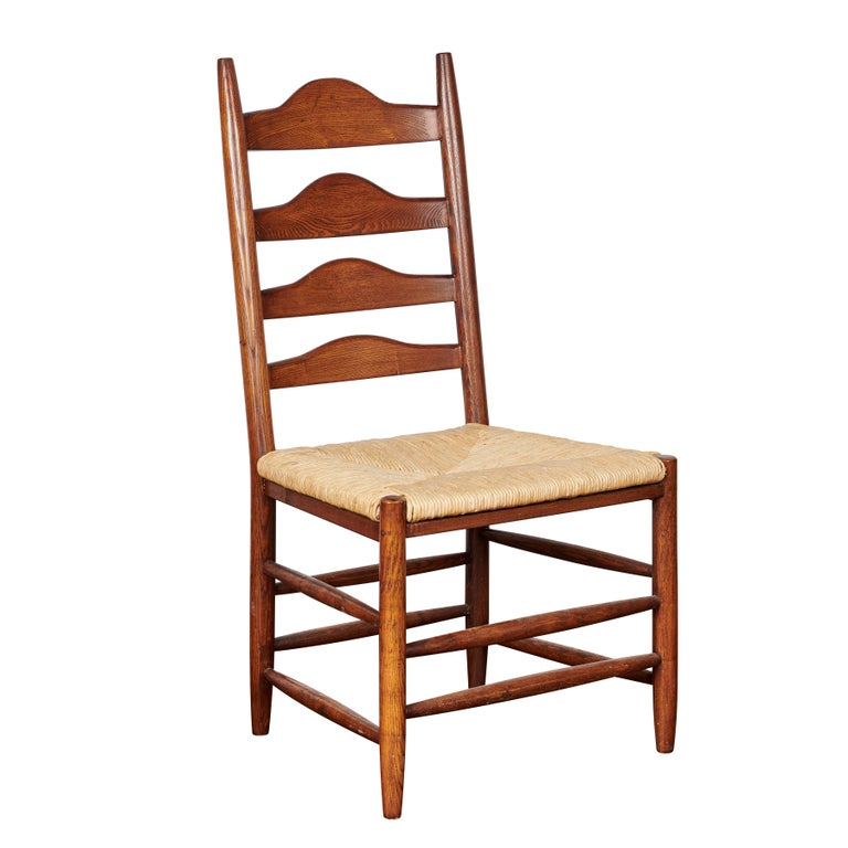 French Oak Grand Ladder Back, Rush Seating Dining Chairs, Pair For Sale