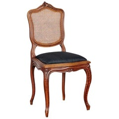 French Oak Louis XV Lattice Dining Chairs with Black Upholstery, Set of Six