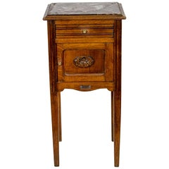 French Oak Marble-Top Nightstand
