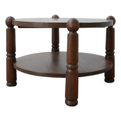 French Oak Midcentury Coffee Table Attributed to Charles Dudouyt