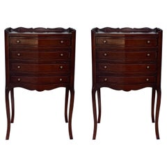 French Oak Pair of Nightstands with One Drawer and Open Shelf, Cabinet, 1890s