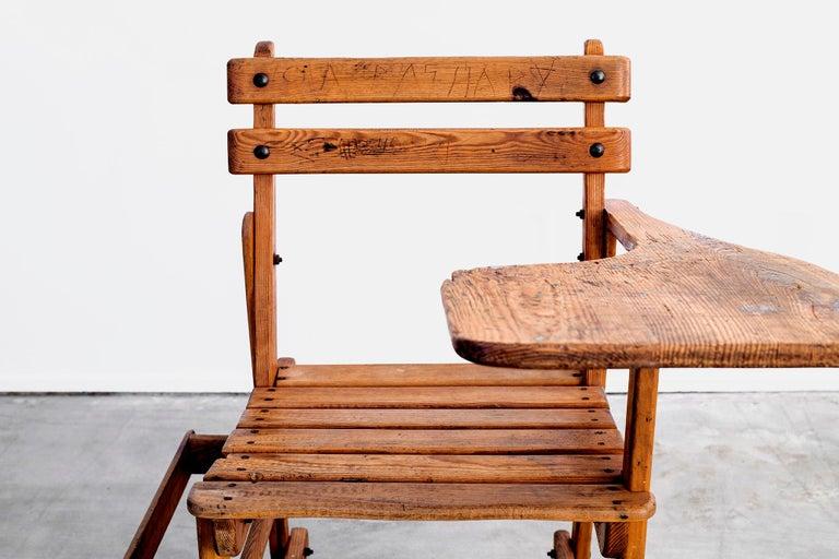 French Oak School Desk For Sale 9