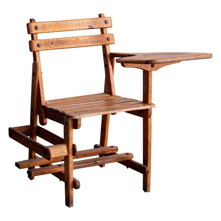 French Oak School Desk For Sale