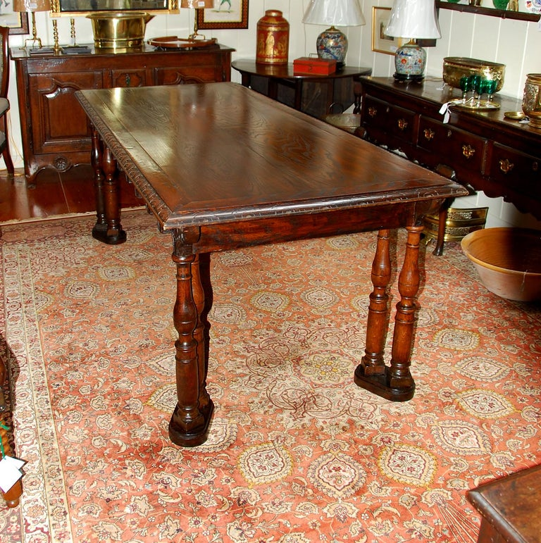 Gothic Revival French Oak Long Dining Table Constructed from 17th Century Elements For Sale