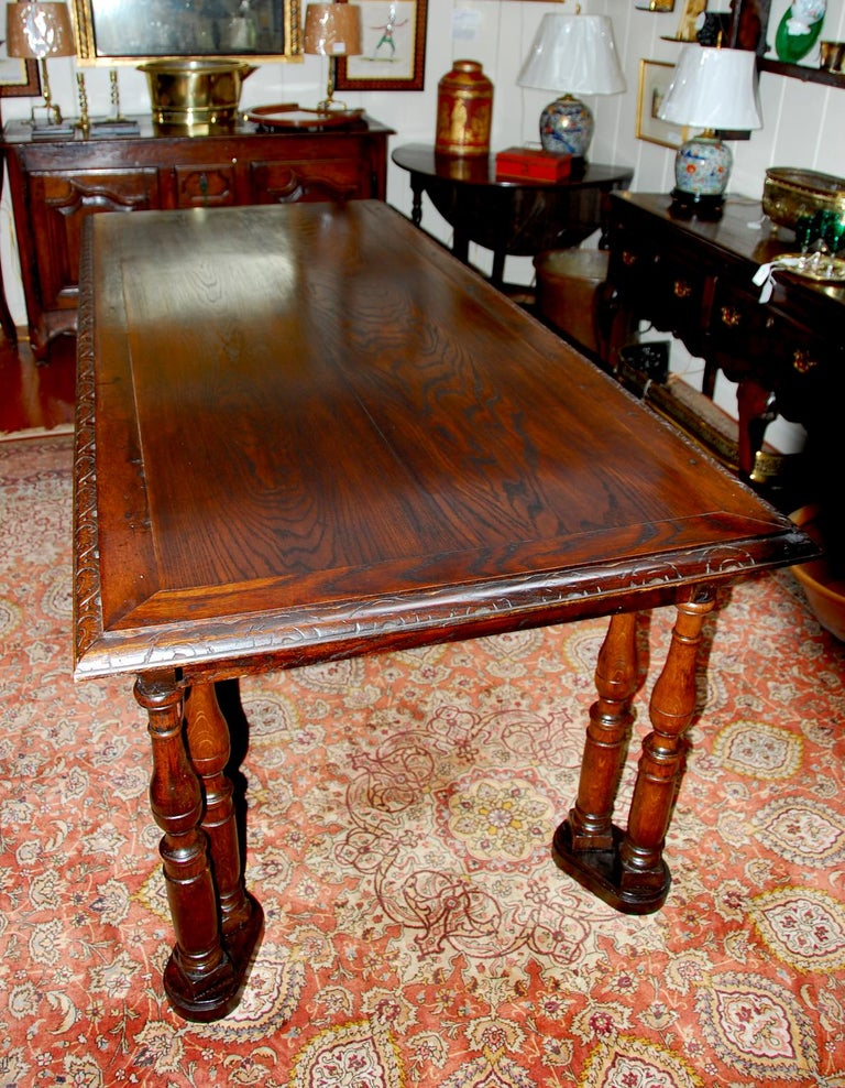 French Oak Long Dining Table Constructed from 17th Century Elements In Good Condition For Sale In Wells, ME