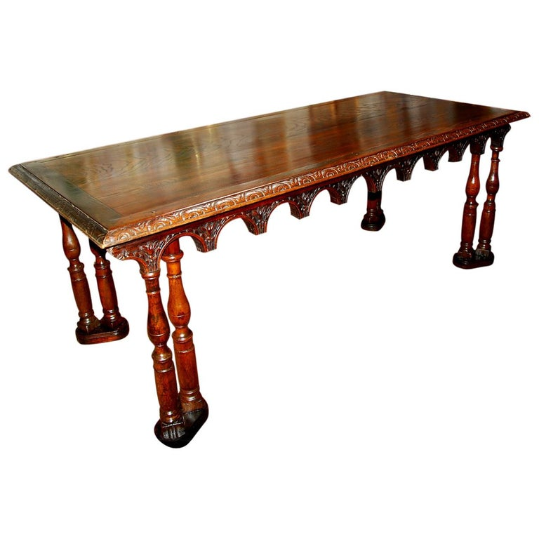 French Oak Long Dining Table Constructed from 17th Century Elements For Sale
